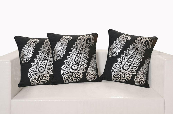 BLACK AND SILVER FERN CUSHION COVER