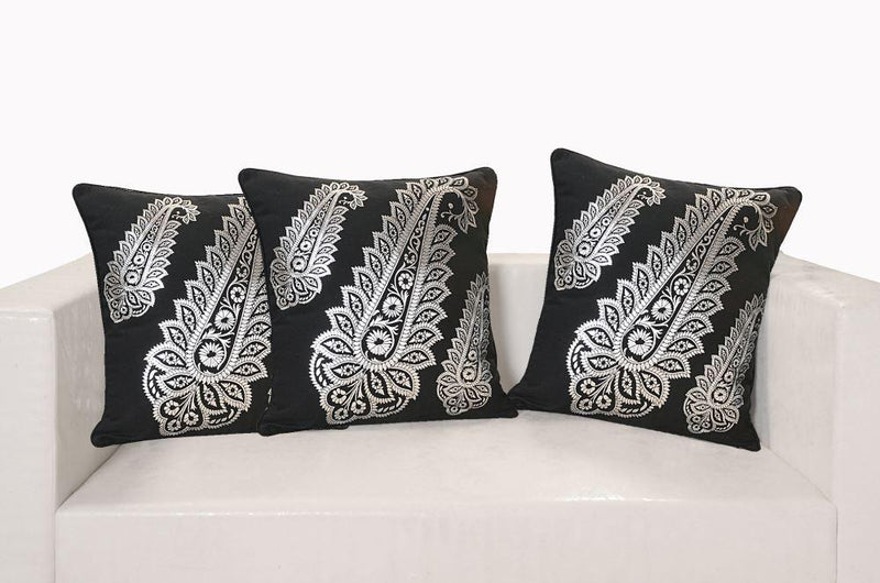 BLACK AND SILVER FERN CUSHION COVER - Flickdeal.co.nz
