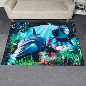 Dolphin Sea World Area Floor Rug Carpet for Bedroom Living Room Home Decoration