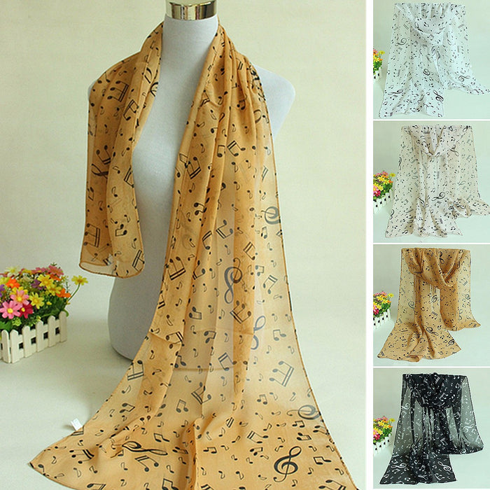 Women Ladies Musical Note Printed Chiffon Scarf Shawl Wrap