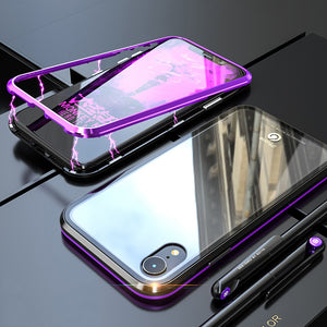 "Bakeey Protective Case for iPhone XR 6.1"" Magnetic Adsorption Metal+Clear Tempered Glass Cover"