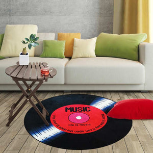 Non-Slip Retro Round Record Coaster Printing Soft Floor Mat Carpet Room Area Rug