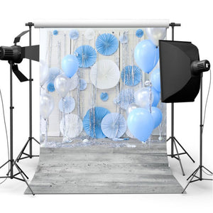 3x5FT 5x7FT Vinyl Blue Balloon Wood Floor Photography Backdrop Background Studio Prop