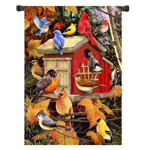 28x40 12.5x18 Inch Birdhouse Welcome Fall House Garden Flag Yard Banner Decorations