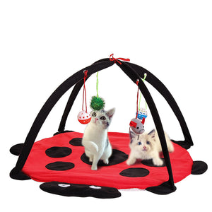 Pet Cat Play Bed Activity Tent Playing Toy Exercise Kitten Pad Mat Bells House