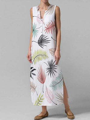 Women V-Neck Floral Print Button Down Sleeveless Dress