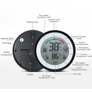 DANIU Multifunctional Digital Thermometer Hygrometer Temperature Humidity Meter Max Min Value Trend Display ℃/℉ Touch Screen