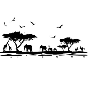African Elephant Animals Wall Stickers Black Mural Home Decal Removable Art Vinyl Room Decor DIY