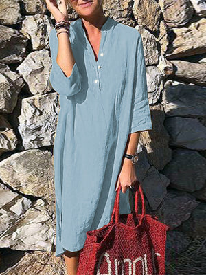 Women Pure Color Button Down V-Neck 3/4 Sleeve Dress