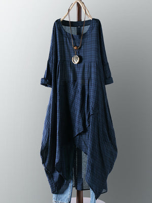Vintage Cotton Plaid Asymmetric Maxi Dress