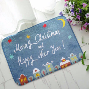 40x60cm Christmas Flannel Velvet Memory Foam Rug Absorbent Bathroom Mat Non-slip Soft Floor Carpet