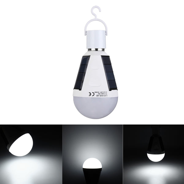 7W Solar Powered E27 LED Rechargeable Light Bulb Tent Camping Emergency Lamp with Hook