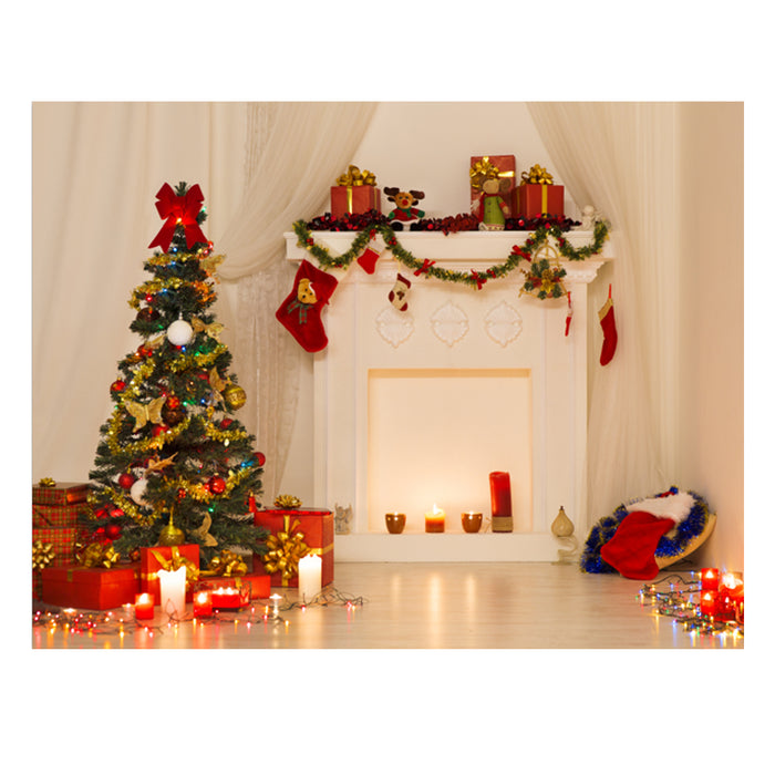 5x7ft Vinyl Christmas Tree Fireplace Background Photography Studio Backdrop Prop