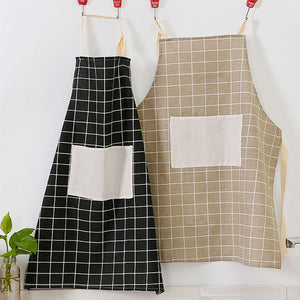 KCASA KC-APR02 Cotton Linen Dirty Proof Chef Apron Fashion Lattice Unisex Women Man Aprons Commercial Restaurant Home Bib Spun Poly Cotton Kitchen Aprons
