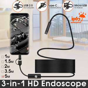 Bakeey 7MM Type-c USB Micro USB 3-in-1 Endoscope For Samsung S7 Xiaomi Redimi Note4 PC PAD