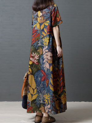 Women Crew Neck Floral Cotton Vintage Maxi Dress