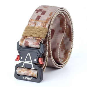 125cm AWMN S05-2 3.8cm Tactical Belt Inserting Quick Release Buckle Military Fan Hunting Nylon Belts