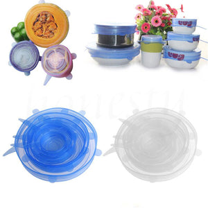 6Pcs / Set Silicone Wrap Stretch Universal Lid Camping Kitchen Vacuum Seal Suction Food Wrap Covers