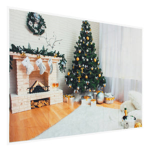 7x5ft Retro Christmas Tree Vinyl Fireplace Photography Backdrop Studio Prop Background