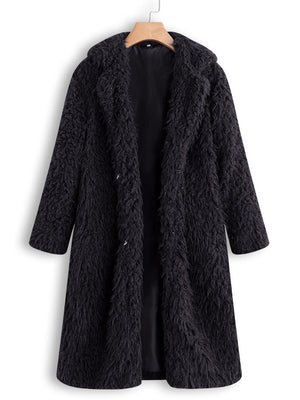 Faux Fur Turn Down Collar Coats