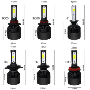 72W 8000LM LED Car Headlights Bulbs Fog Lamps H1 H4 H7 H8/H9/H11 9005 9006 IP68 6000K 2PCS