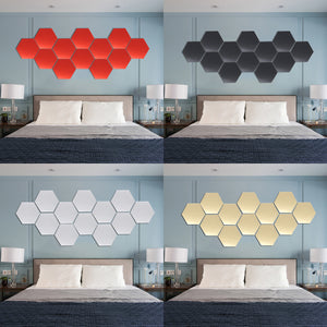 12Pcs 18.4cm Mirror Wall Sticker Hexagon Removable Acrylic 3D Mirror Self Adhesive DIY Decor