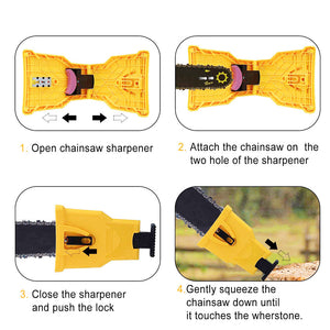 Drillpro Chainsaw Teeth Sharpener with Extra Stone Chainsaw Sharpener Bar-Mount Chainsaw Chain Sharpening Kit
