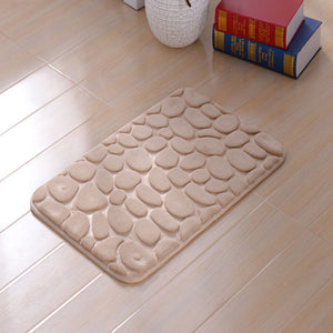 KCASA Colorful 3D Pebbles Floor Bath Rug Natural Absorbent Rubber Bath Mat Bottom Cotton Rebound Mat
