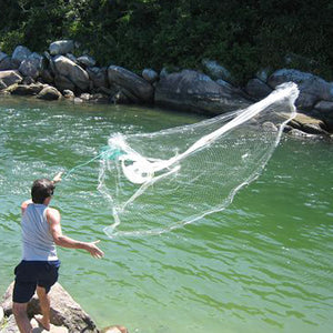 12Ft 3.6M Throw Cast Net Mesh Saltwater Bait Fish Casting Net with Real Sinker Fishing equipment Fishing Net