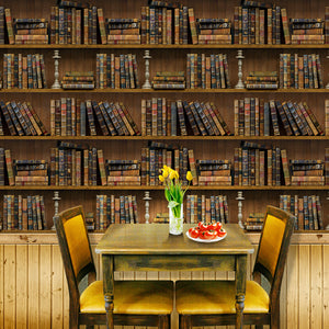 45cmx10m Self-adhesive Bookshelf Library Book Pattern Wall Paper Mural Decals Living Room Decor