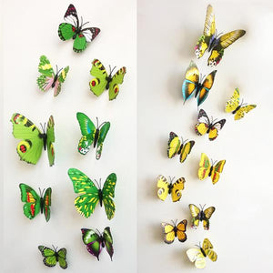12Pcs 3D Stereoscopic Butterfly Wall Sticker Living Room Home Decoration Decal DIY Mural Wall Art