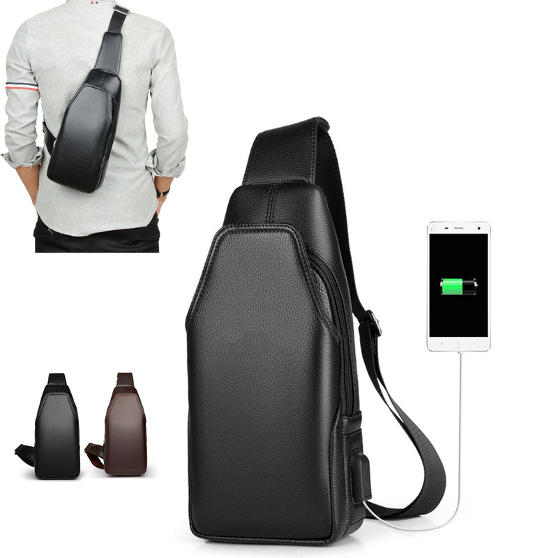 BIKIGHT Outdoor Chest Shoulder Bag Crossbody Men Waterproof USB Charging Earphone Port Cycling Bag