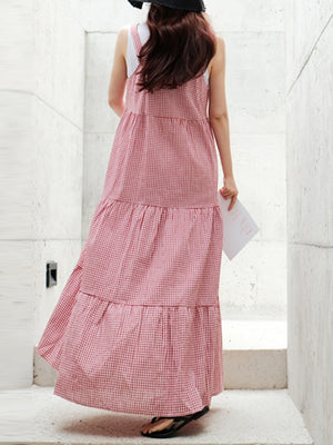 Women Casual Loose Check Side Pockets O-Neck Sleeveless Dres