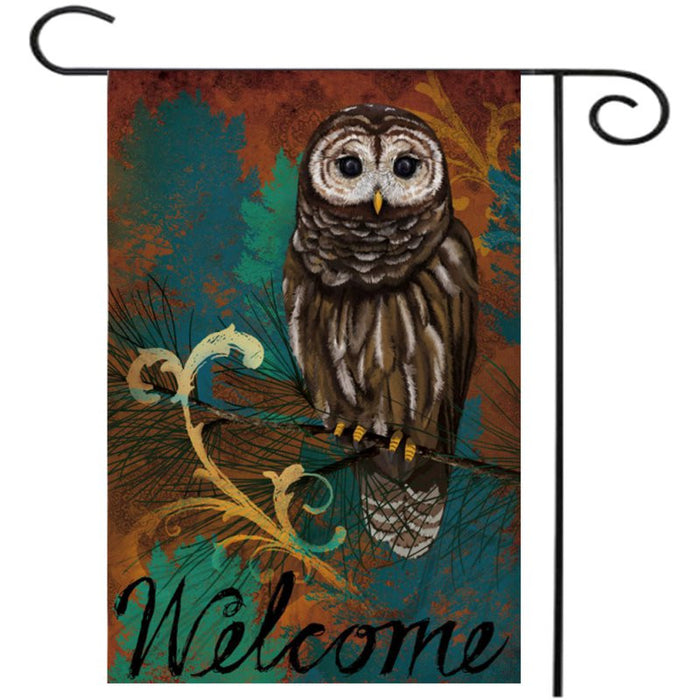 "28""x40"" 12.5""x18"" Owl Autumn Welcome Fall House Garden Flag Yard Banner Decorations"