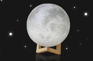 10cm 3D Magical Two Tone Moon Table Lamp USB Charging Luna LED Night Light Touch Sensor Gift