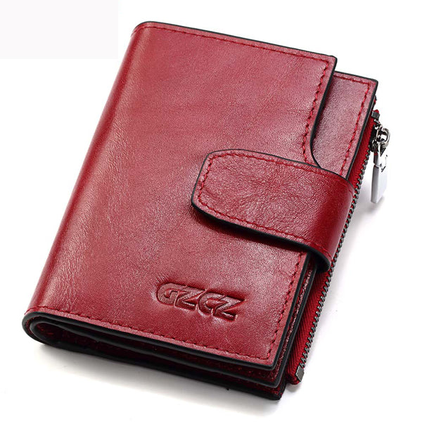 Women Short Genuine Leather Vintage Wallet