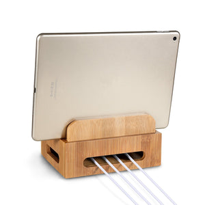 Bamboo Multi-device Phone Holder Charging Dock Stand Holder Tablet Stand for Smartphone Tablet
