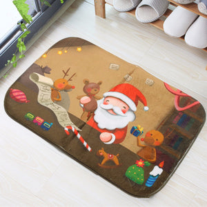 40x60cm Christmas Non-slip  Absorbent  Floor Mat Bathroom Kitchen Bedroom Doormat Carpet Decor