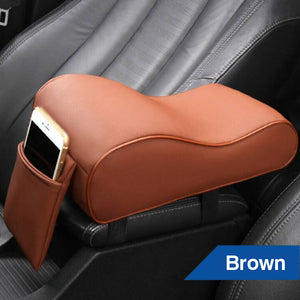 Universal PU Leather Car Arm Rest Pad Memory Foam Auto Arm Rests Covers with Phone Pocket