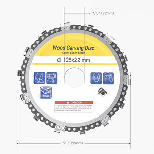 Drillpro 5 Inch Grinder Chain Disc 22mm Arbor 14 Teeth Wood Carving Disc For 125mm Angle Grinder