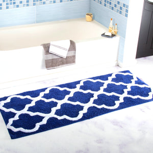 Breathable Water Absorption Carpet Mats Anti-slip Navy and Ivory Moroccan Ogee Plush Area Rug For Living Room Bedroom Bathroom