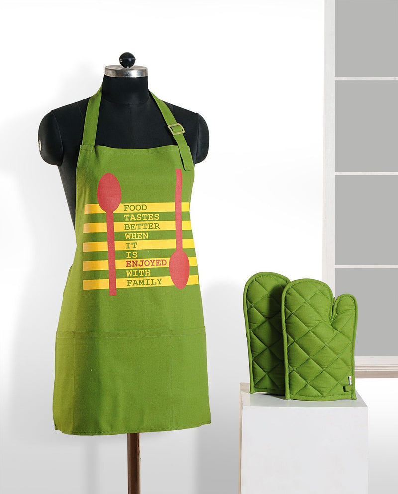 GREEN GRAFFITI APRON AND GLOVES - Flickdeal.co.nz