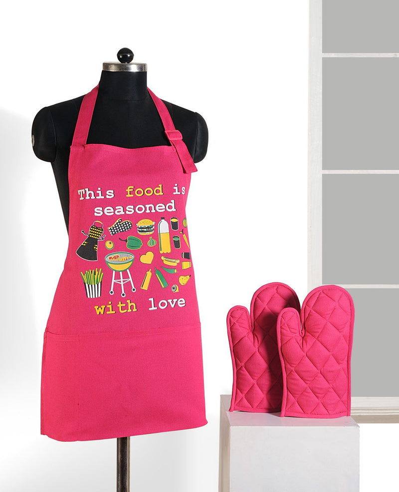 PINK GRAFFITI APRON AND GLOVES - Flickdeal.co.nz