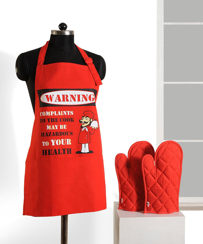 RED GRAFFITI APRON AND GLOVES