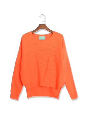 Autumn loose Candy Colors Irregular Long Sleeve Woolen Sweaters