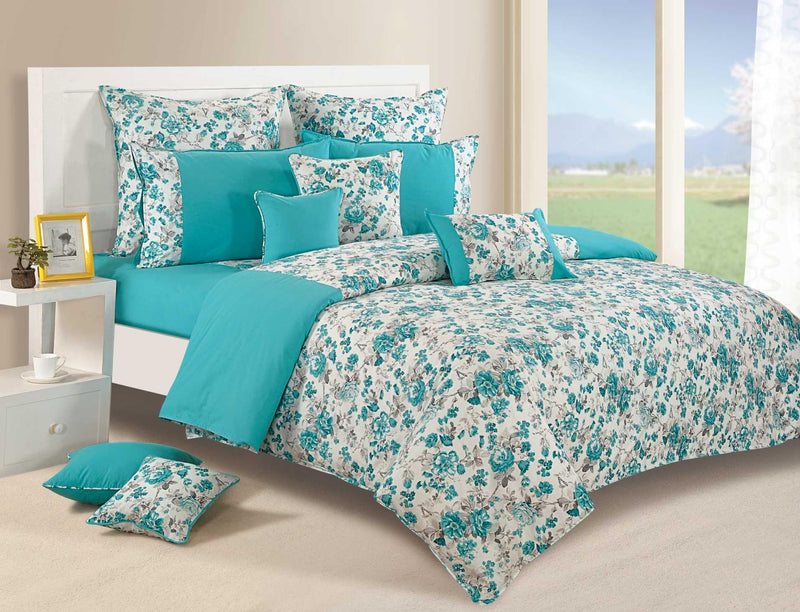 Canopus Aqua floral Cotton Duvet Cover set - Flickdeal.co.nz
