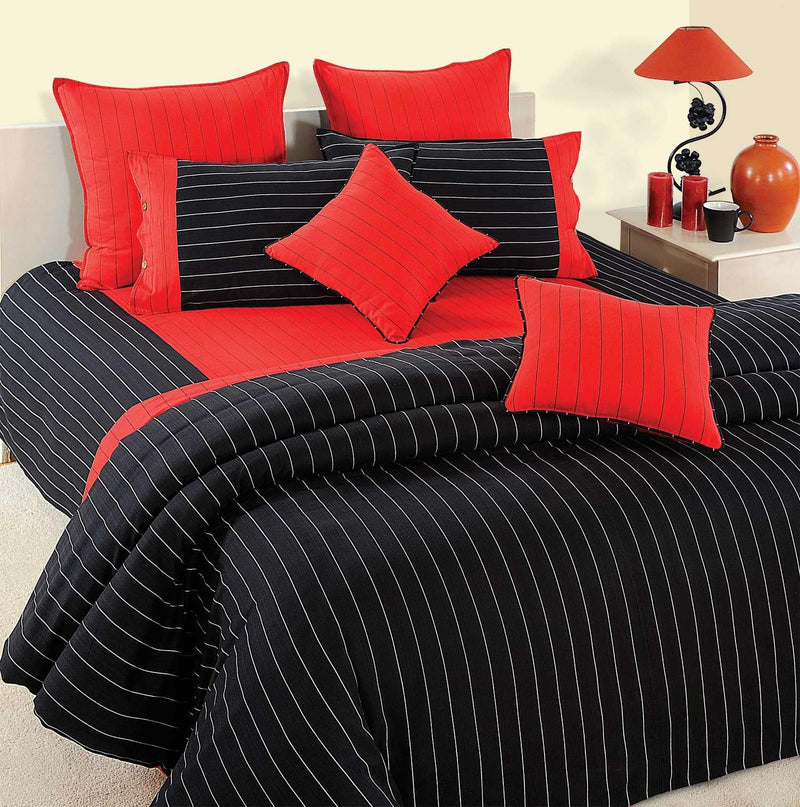 Black striped 3-pieces Cotton Duvet Cover Set - Flickdeal.co.nz