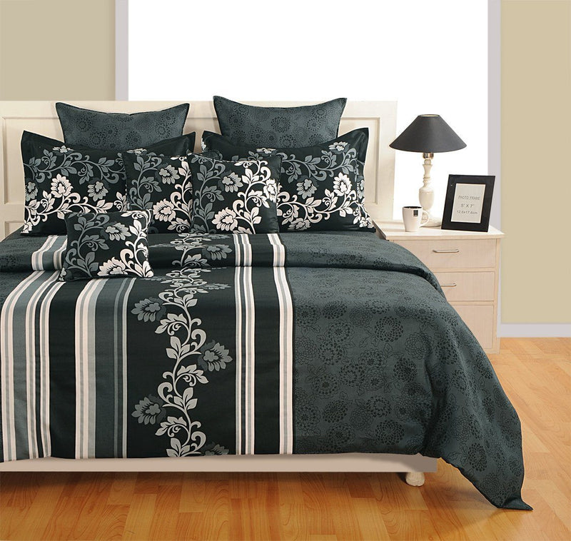 Canopus Striped and Floral Duvet Cover Set - Flickdeal.co.nz