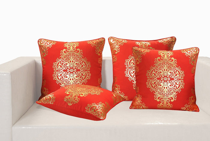 GOLD AND RED CUSHION COVER