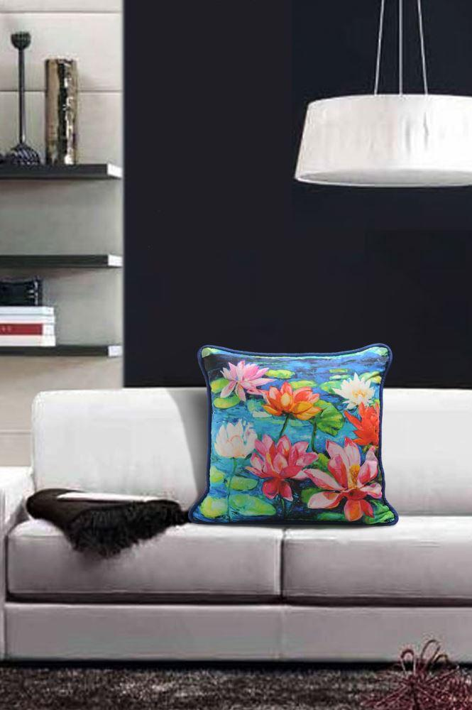FLORAL CUSHION COVER -LOTUS